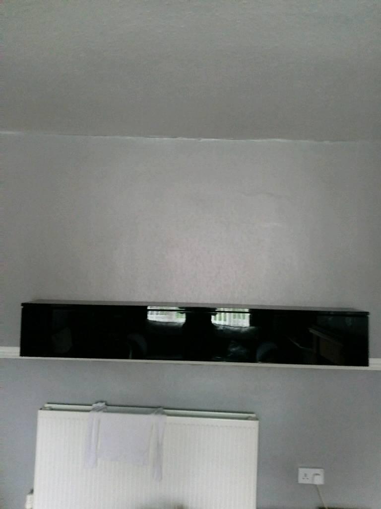 Long high gloss black wall unit | in Broxtowe, Nottinghamshire | Gumtree