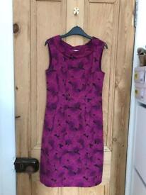 White Stuff purple ginkgo leaves dress - size 8