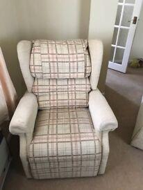 Beautiful British made 2 seat sofa , chair and footstool