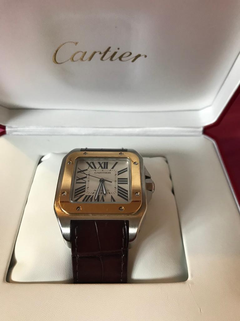8262ba774c384 2017 Genuine Cartier Santos 100 W20072X7 with Box & Papers Men's Watch  S/Steel & Gold RRP £8600 | in Earls Barton, Northamptonshire | Gumtree