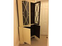 Shabby Chic corner cabinet with glass section at the top and cupboards below