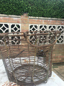 Vintage Rare Rustic French Wire Log Basket For Sale