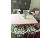 Pink Table & 4 Grey Chairs