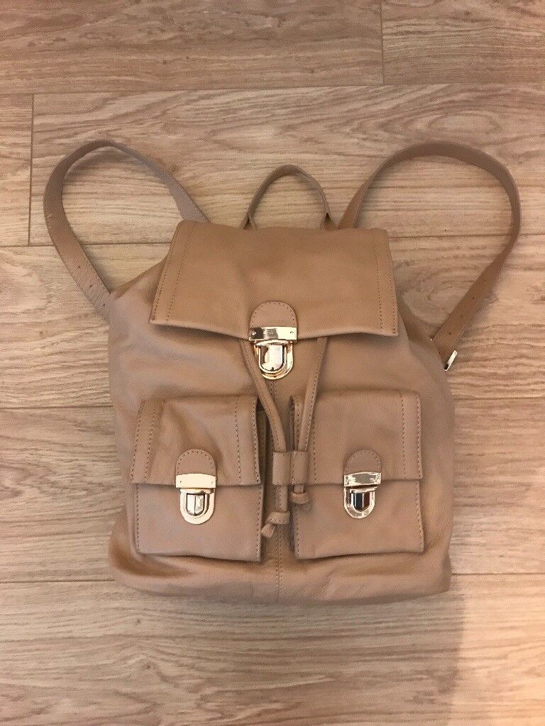 Real Leather Ladies rucksackin Belper, Derbyshire - Lovely leather tan ladies rucksack bag in tan. Never used. Collect from Belper. Plenty of handy pockets for all your necessities. Comfortable to wear