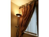 Pair of Beautiful Curtains, gold patterned floor length.