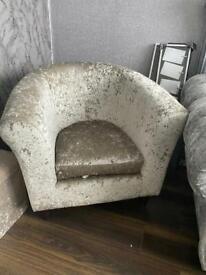 Silver crushed velvet chair