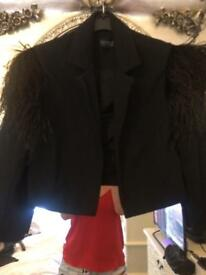 Crop feathered ladies topshop jacket