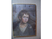 Signed G Bragolin kitsch vintage retro Crying Boy print/board-Nielsen gold metal frame/glass.£25 ono