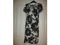 M & Co Black/Cream Wrap over Dress Size 10. Very good condition