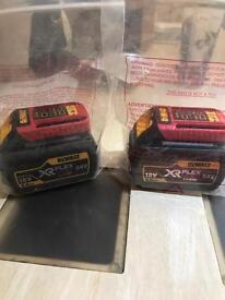 2 x Dewalt 54v flex volt battery's