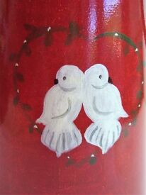 5 Litre Metal Hand Painted Jug With Dove Decoration