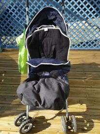 Chicco Navy Stroller Pushchair Complete With Cosy Toes & Rain Cover As New Condition
