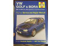 Haynes Manual for VW Golf & Bora Petrol & Diesel 2001 - 2003