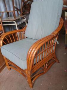 OAKVILLE Bamboo Side Chair with 2 Cushions Wicker Rattan Cane Boca Rattan Good Quality Thick heavy blue brown sunporch