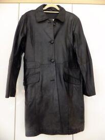 Ladies Black Leather coat size 18