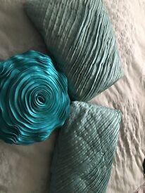 Teal cushions x3