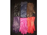 Ladies leather gloves in assorted colours