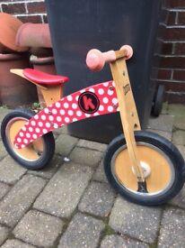 For sale wooden kiddimoto balance bike