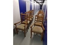 8 Ladderback Barker & Stonehouse Flagstone Dining Chairs Mango Solid Wood Baker