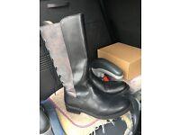 Knee length girls black boots