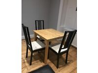 IKEA wooden square table & 3 chairs
