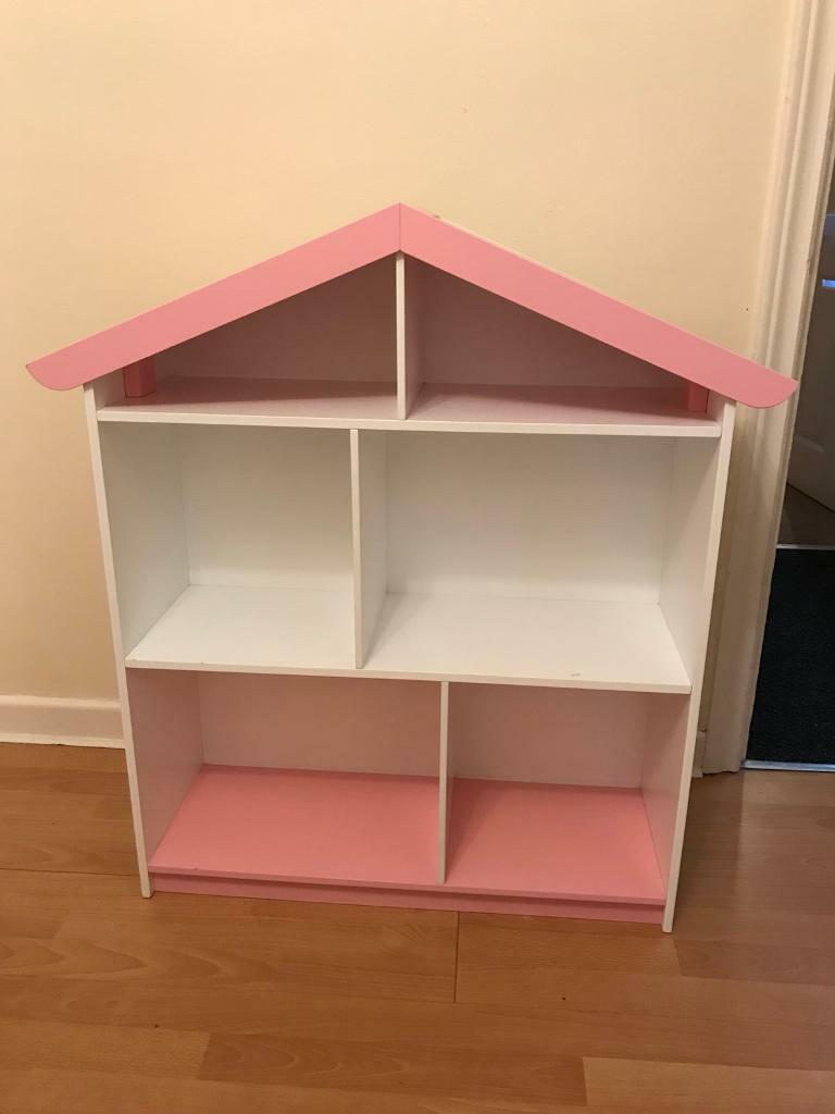 Pink White Dolls House Bookshelf