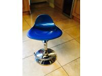 Electric blue gas assisted rise and fall chrome based bar stools