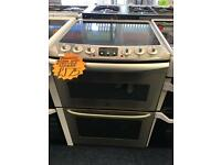 ZANUSSI 60CM CEROMIC TOP ELELCTRIC COOKER IN SILIVER