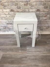 Stunning White Glass bedside table
