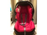 Carseat with carbase, footmuff, bouncer