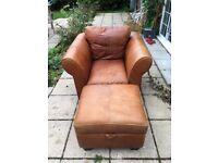 Hand made Italian Leather Armchair and Pouffe with storage.