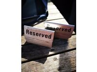Reserved Stainless Steel Table Sign