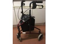 Rollator. Walking Frame. very Good Clean Condition. Braked. With Shopping Bag. 115KG Working Load