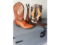 Two pair of real leather mens vintage,, size 10 cowboy boots