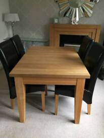 Solid oak wood table and chairs