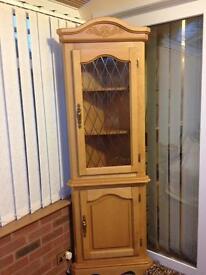 Solid Pine Corner Cabinet with glass leaded door