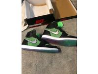 Nike air jordan 1 retro high zoom green rage uk 10 is 11