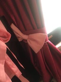 Girls pink curtains with matching tie backs and bows paid 350 made for show not to draw
