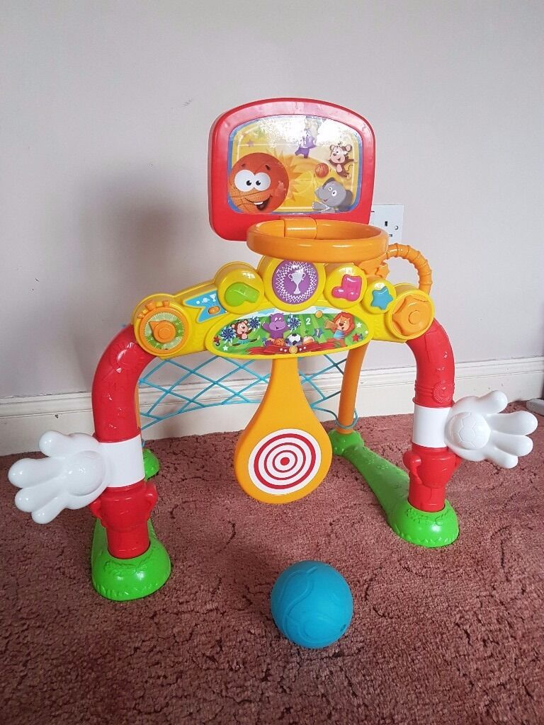 Football goal and basketball hoop toy for toddlersin Poole, DorsetGumtree - Very good condition, batteries included. Plays cheerfull sounds and songs when child scores