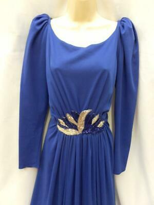 Vintage 1980s Trina Lewis Couture evening dress blue long size 16 - 18 40s - Vintage Kostüm 1980