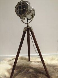 Vintage industrial style tripod lamp