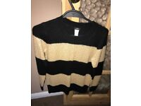 J Krew ladies woollen jumper never used or worn cream with black stripes size 8UK original