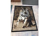 Stunning tiger rug brown/black/white/sepia tiger print