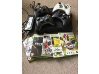 Xbox 360 120GB with 4 wireless controllers and 5 games