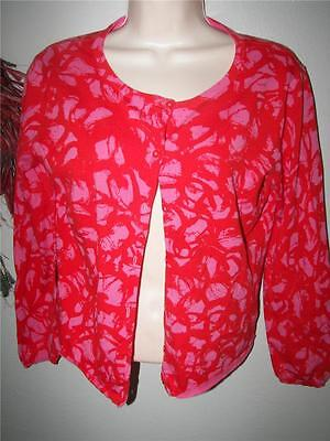 Cabi Pink Red Abstract Print Rockabilly Swing Button Cardigan Sweater m #299