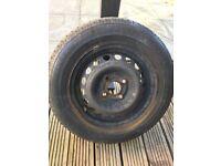 One 4 stud Vauxhall steel wheel and good tyre