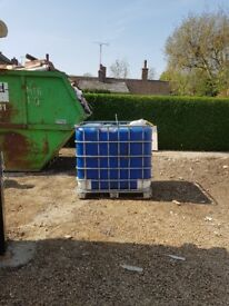 1000 litre IBC been used for rainwater storage. Surplus to requirements