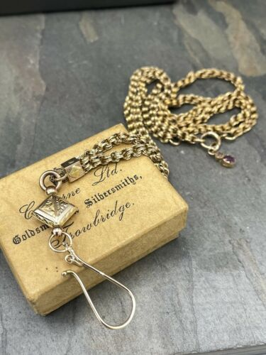Antique Yellow/Rose Gold Watch Chain w/ Large Fob Hook Hallmarked