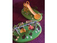 Peppa pig play park slide and swings with George