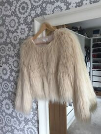 Apricot furry cream coat/jacket - new - with tag - size 10